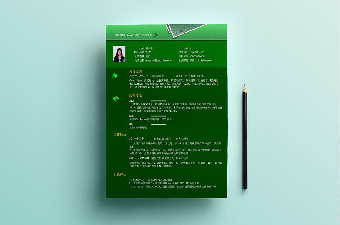 求职宝简历模板丨QCH012-求职宝简历