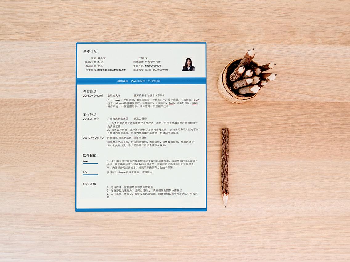 求职宝简历模板丨QCH013-求职宝简历