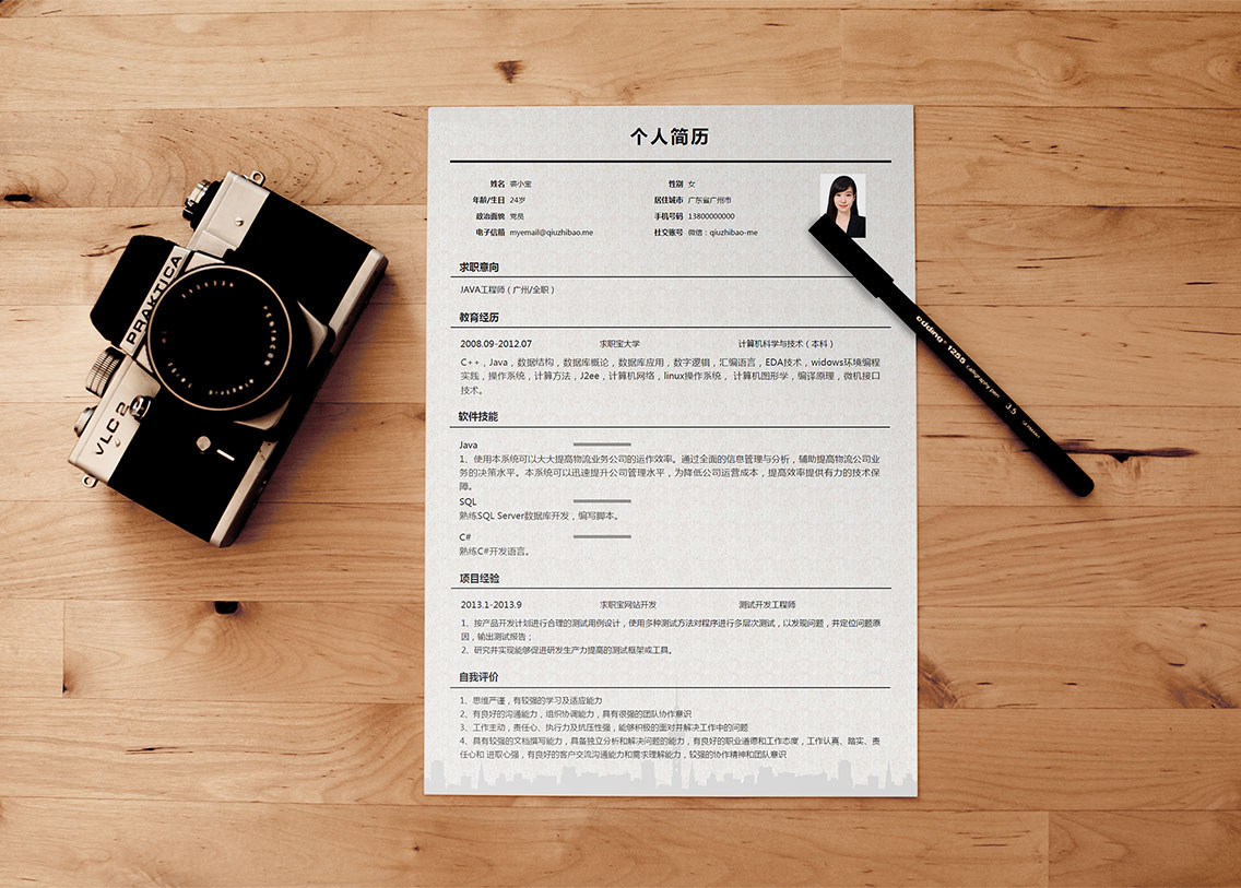 求职宝简历模板丨QNH040-求职宝简历