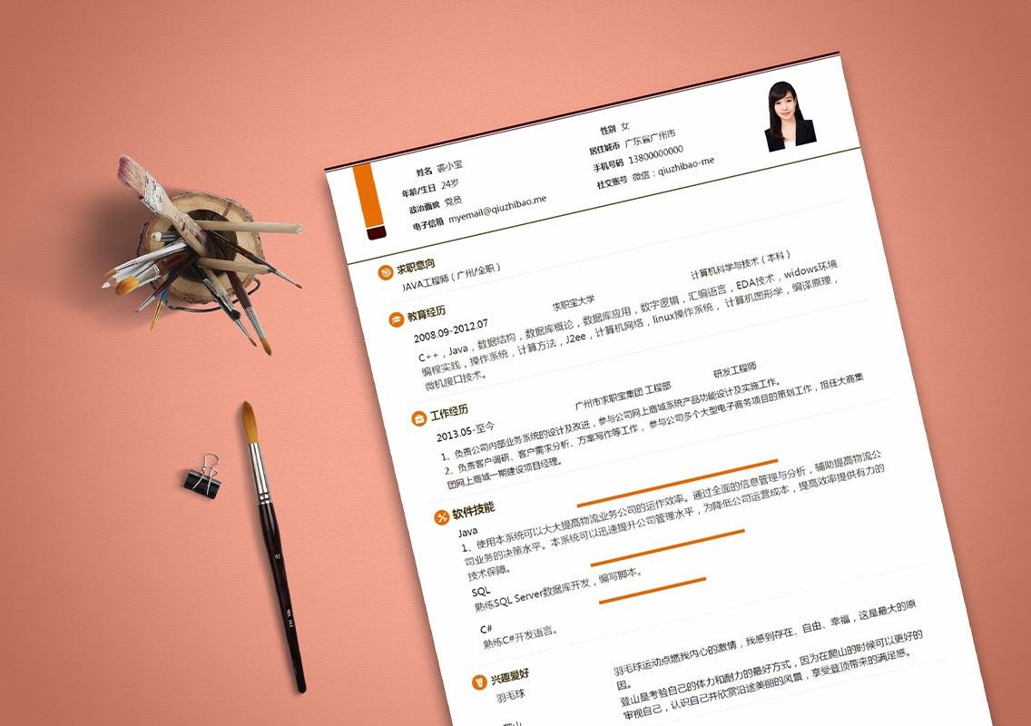 求职宝简历模板丨QNH092-求职宝简历