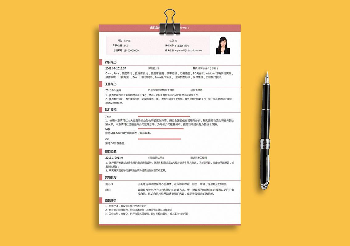 求职宝简历模板丨QNH098-求职宝简历