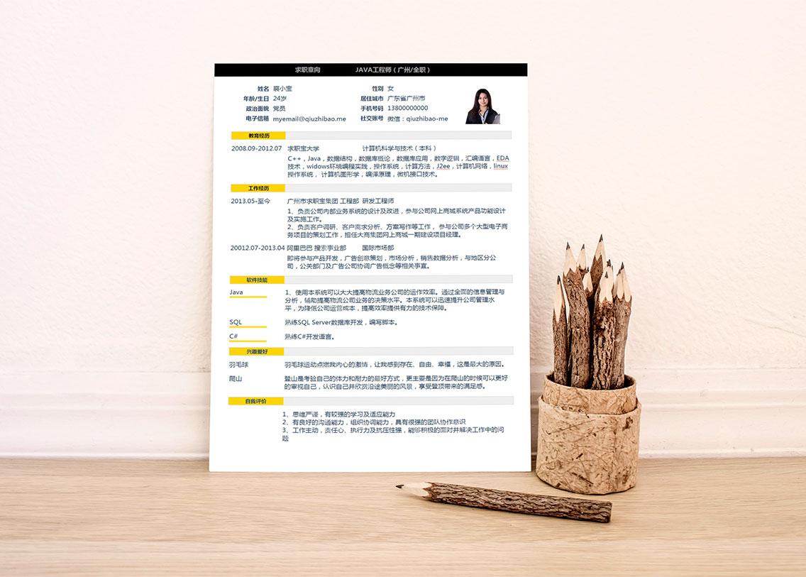 求职宝简历模板丨QCH023-求职宝简历