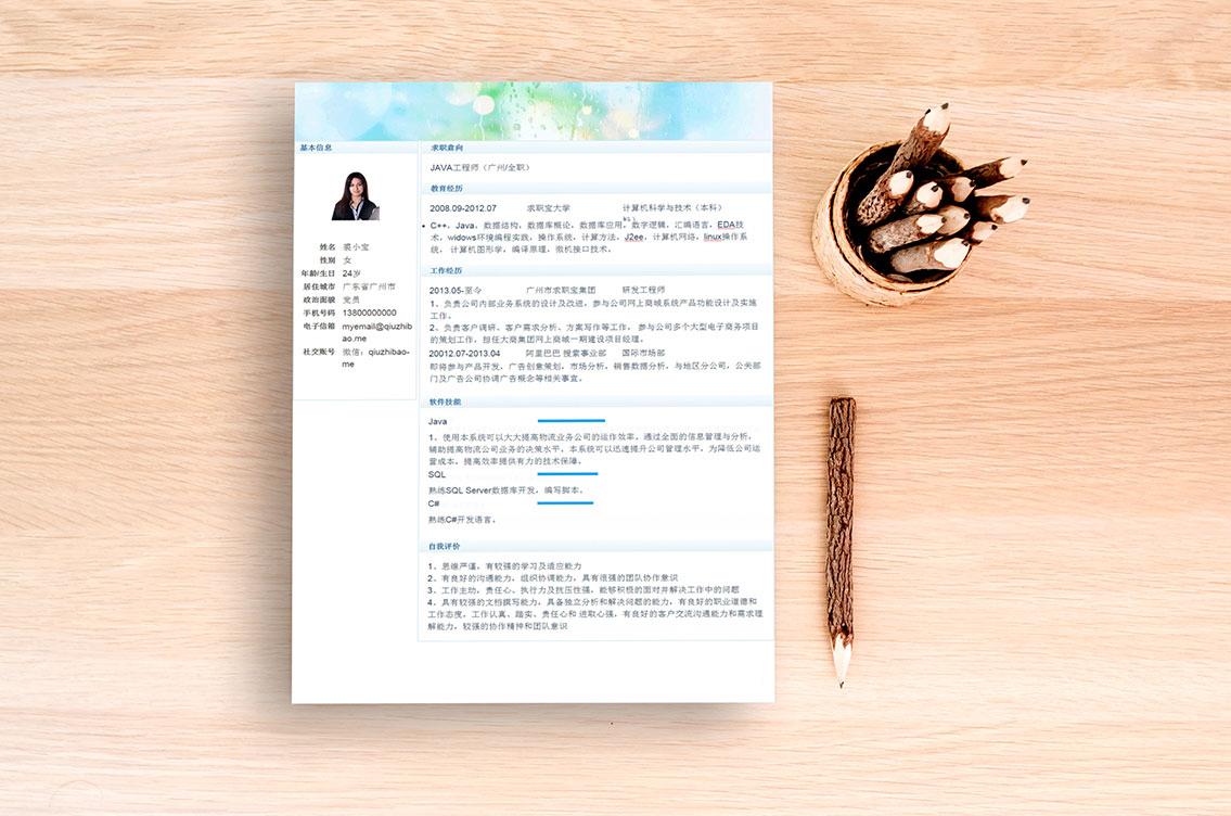 求职宝简历模板丨QCH030-求职宝简历